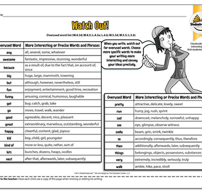 Overused Word List - Writing Worksheet for Grades 4-5