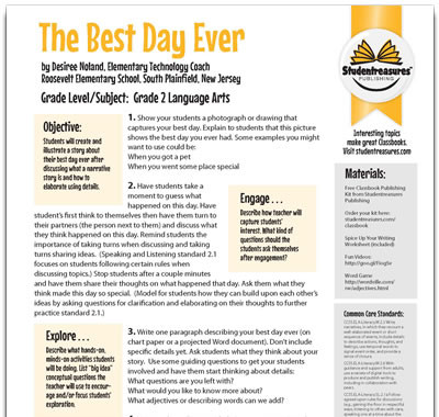 The Best Day Ever - Writing Worksheet for Grades 2